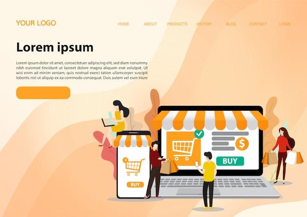 Modelo de compras online. ilustração plana