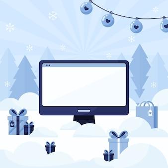 Modelo de computador com uma tela vazia em um fundo de ano novo e natal com árvores e presentes. azul