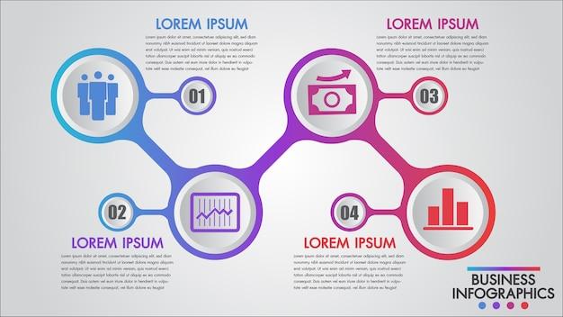 Modelo de conceito de 4 etapas de negócios de infográficos