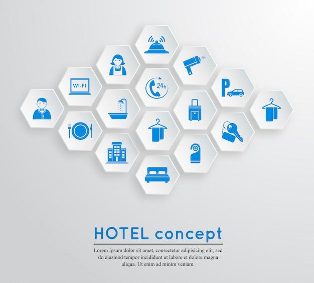 Modelo de conceito de alojamento de viagens de hotel