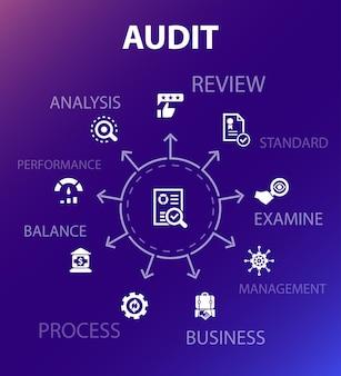 Modelo de conceito de auditoria. estilo de design moderno. contém ícones como revisão, padrão, exame, processo