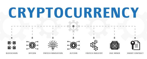 Modelo de conceito de banner de criptomoeda horizontal com ícones simples. contém ícones como blockchain, bitcoin, inovação fintech