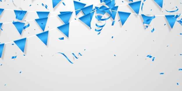 Modelo de conceito de confete azul para festa balões coloridos