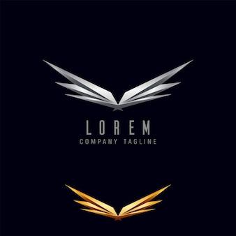 Modelo de conceito de design de logotipo de asas de luxo