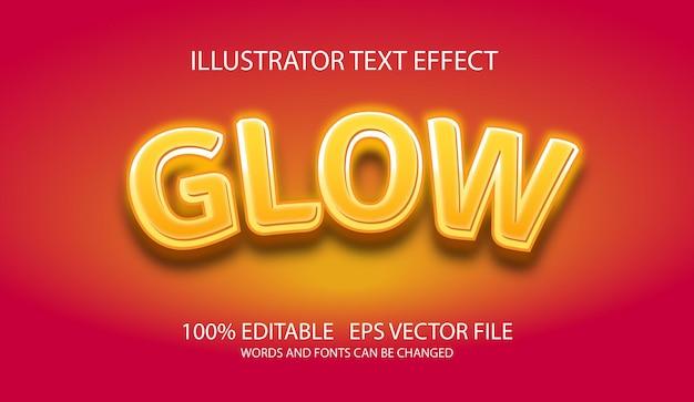 Modelo de conceito de estilo de brilho de efeito de texto editável
