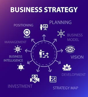 Modelo de conceito de estratégia de negócios. estilo de design moderno. contém ícones como planejamento, modelo de negócios, visão, desenvolvimento