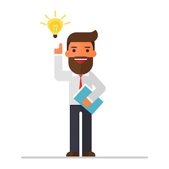 Modelo de conceito de idéia de homem de negócios