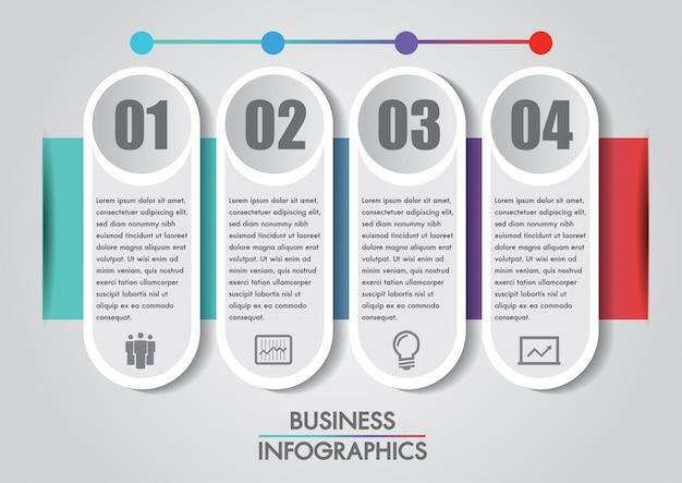 Modelo de conceito de infografia de negócios é 4 etapa de opção.