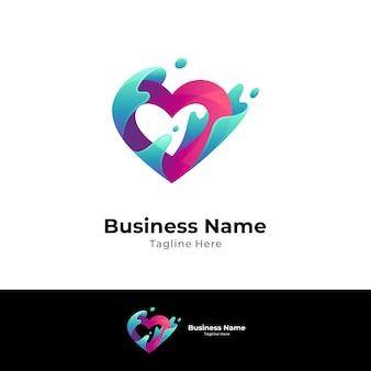 Modelo de conceito de logotipo de coração e onda