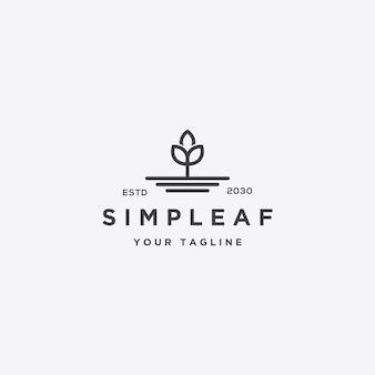 Modelo de conceito de logotipo de folha simples