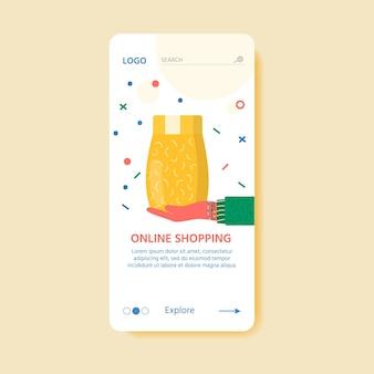 Modelo de conceito de serviço de entrega online com embalagens cartonadas e ícones de entrega. página da web com encomendas postais, pacotes, caixas, cartas, envelopes. página de destino do vetor