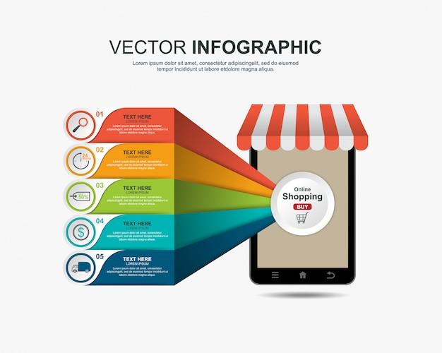 Modelo de conceito on-line de compras infográficos