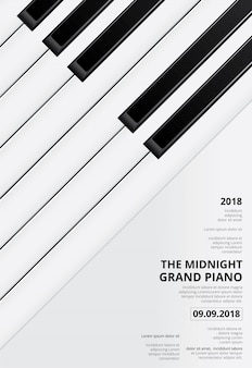 Modelo de concerto de cartaz de piano de cauda de música
