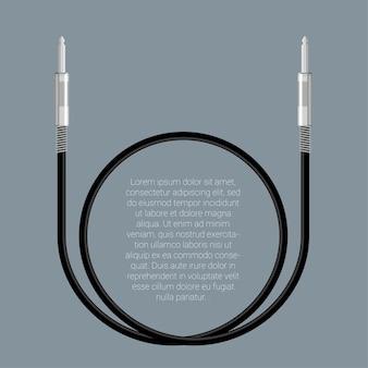 Modelo de conectores de cabo de áudio de design plano