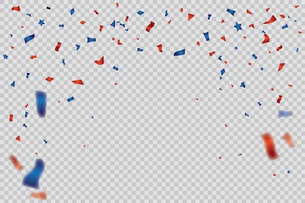 Modelo de confete vermelho e azul