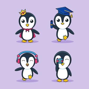 Modelo de conjunto adorável mascote de desenho de pinguim