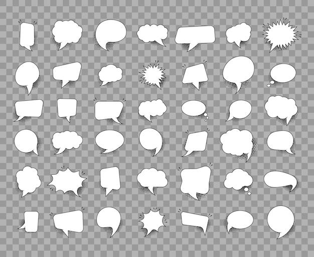 Modelo de conjunto de balões de fala em quadrinhos vazios retrô