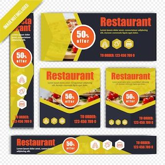 Modelo de conjunto de banner da web para restaurante