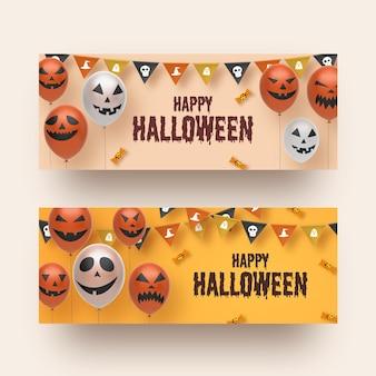 Modelo de conjunto de banner de halloween