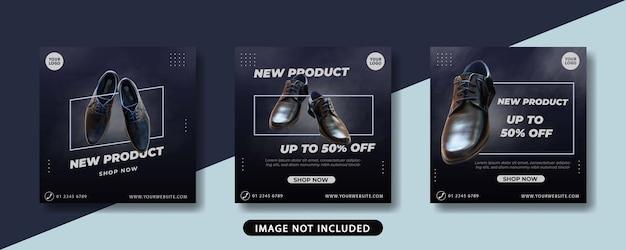 Modelo de conjunto de banner de post do instagram para venda de sapatos masculinos