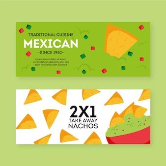 Modelo de conjunto de banner de restaurante mexicano