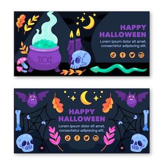 Modelo de conjunto de banners de halloween