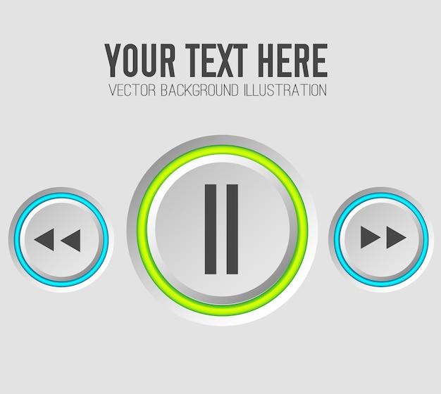 Modelo de conjunto de botões da web de música