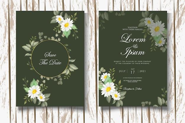 Modelo de conjunto de cad de convite de casamento floral em aquarela