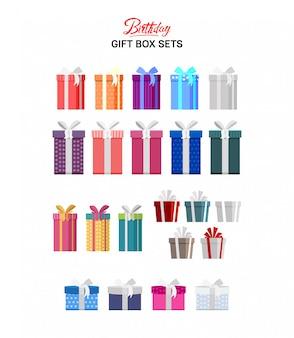 Modelo de conjunto de caixa de presente de aniversário
