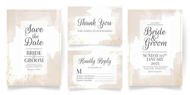 Modelo de conjunto de cartão de convite de casamento com fundo aquarela