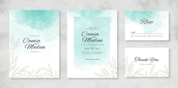 Modelo de conjunto de cartão de convite de casamento com toque de aquarela