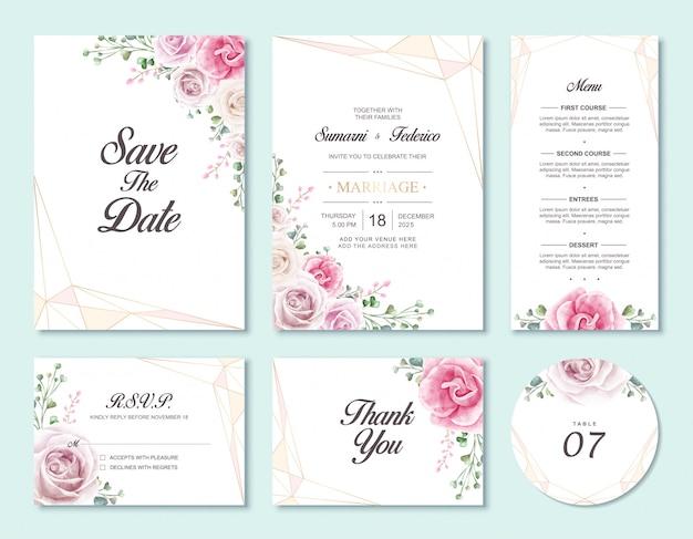 Modelo de conjunto de cartão de convite de casamento de flor