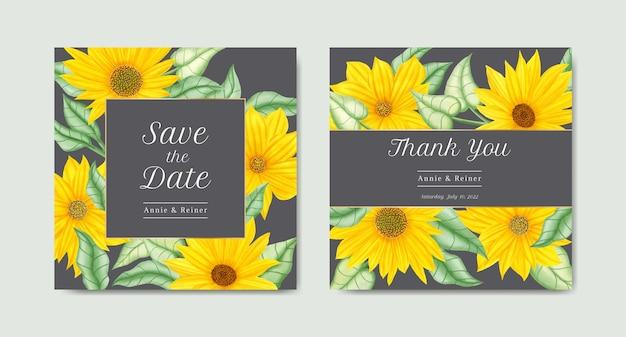 Modelo de conjunto de cartão de convite de casamento de girassol em aquarela
