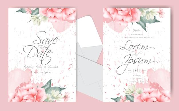 Modelo de conjunto de cartão de convite de casamento elegante com aquarela cremosa e flores