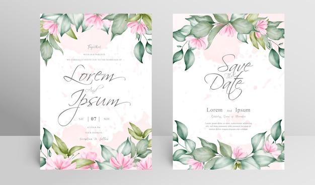 Modelo de conjunto de cartão de convite de casamento elegante com arranjo floral e aquarela