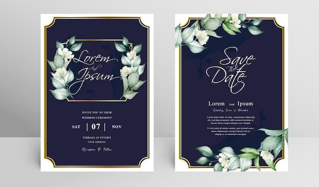 Modelo de conjunto de cartão de convite de casamento elegante com arranjo floral