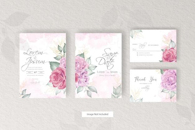 Modelo de conjunto de cartão de convite de casamento em aquarela com arranjo floral minimalista