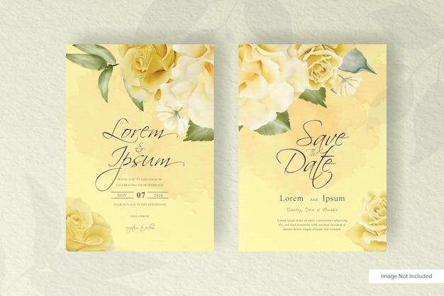 Modelo de conjunto de cartão de convite de casamento em aquarela com decoração floral e de folhas