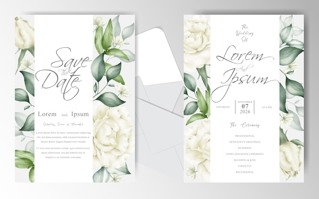 Modelo de conjunto de cartão de convite de casamento em aquarela elegante