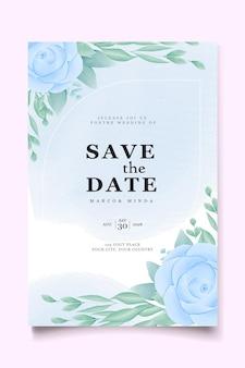 Modelo de conjunto de cartão de convite de casamento em aquarela