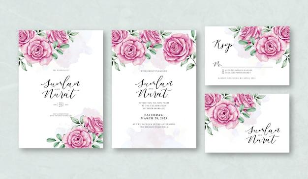 Modelo de conjunto de cartão de convite de casamento floral lindo