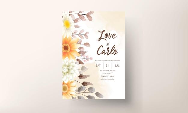 Modelo de conjunto de cartão de convite de casamento floral marrom