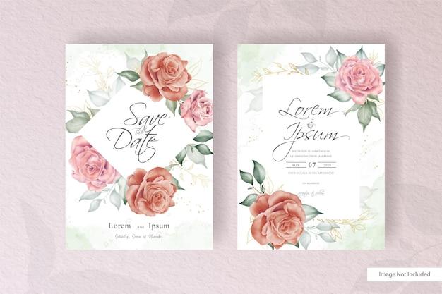 Modelo de conjunto de cartão de convite de casamento vintage com flores e folhas desenhadas