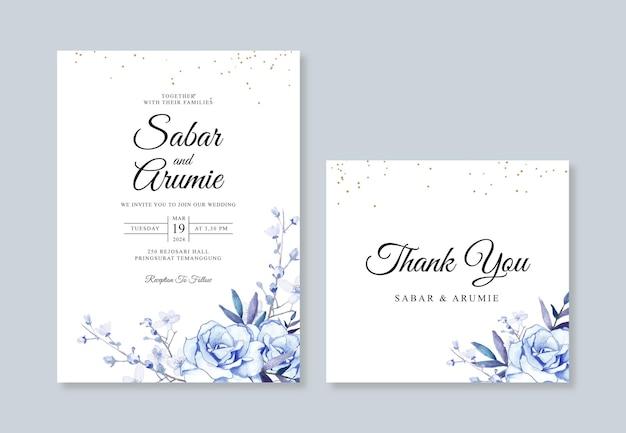 Modelo de conjunto de cartão de convite de casamento