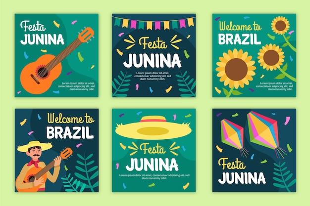 Modelo de conjunto de cartão de festa junina