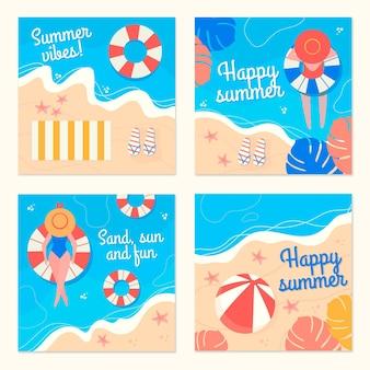 Modelo de conjunto de cartão de verão mão desenhada