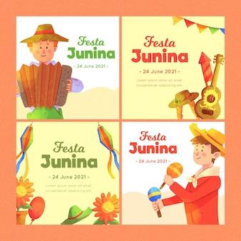 Modelo de conjunto de cartão festa junina aquarela