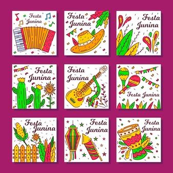 Modelo de conjunto de cartão festa junina mão desenhada