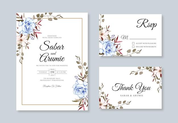 Modelo de conjunto de convite de cartão de casamento com aquarela floral