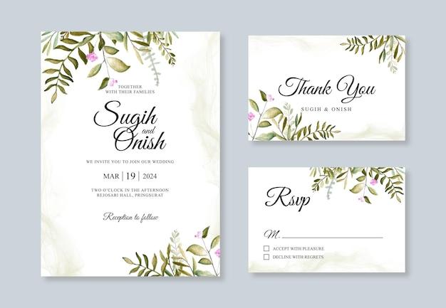 Modelo de conjunto de convite de cartão de casamento com aquarela pintura à mão